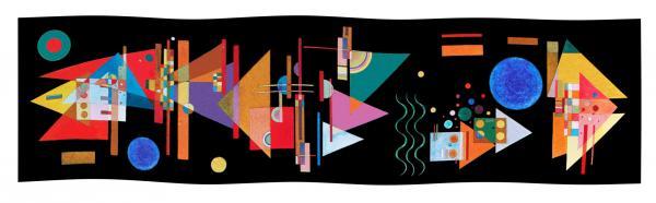 Seidenschal Kandinsky Spitzen im Bogen